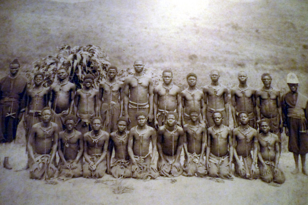 Slaves in the Congo for Leopold II of Belgium.