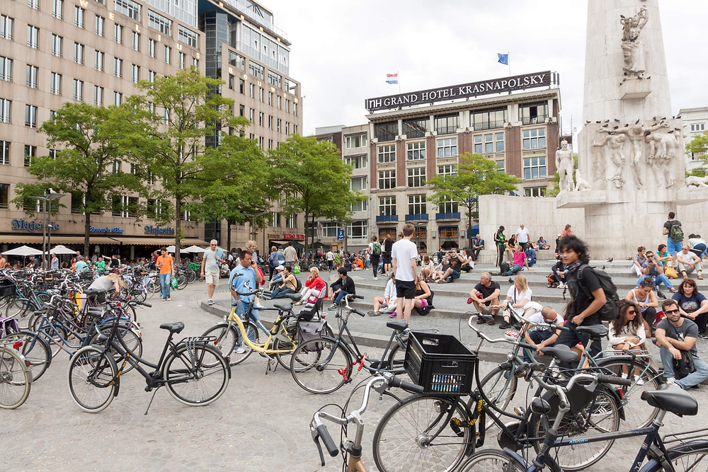 Cyclists at Dam Square Amsterdam