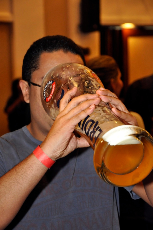 Beer loving tourist during Oktoberfest