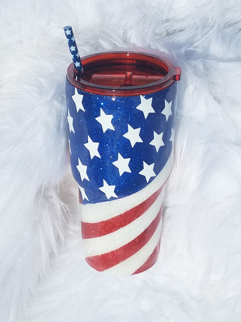 ab19b19e82c8 United States of America Flag Glitter Tumbler