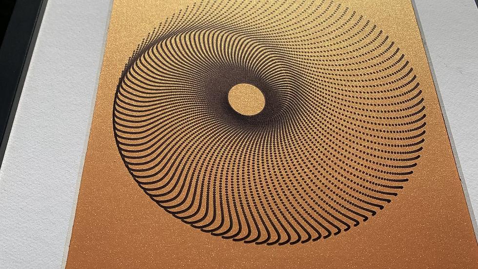 Black / Orange Gold Spiral - Framed