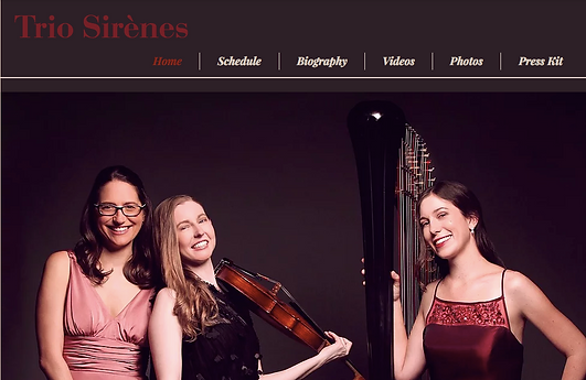Image of Trio Sirènes' website