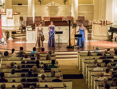 Trio Sirènes after a performance at Second Presbyterian Church