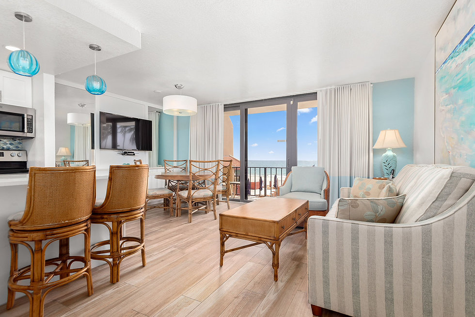 This is the living room of an oceanfront suite at Costa del Sol.