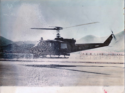 Before Photo Restoration: Military Helecopter Tinted Black and White Photograph