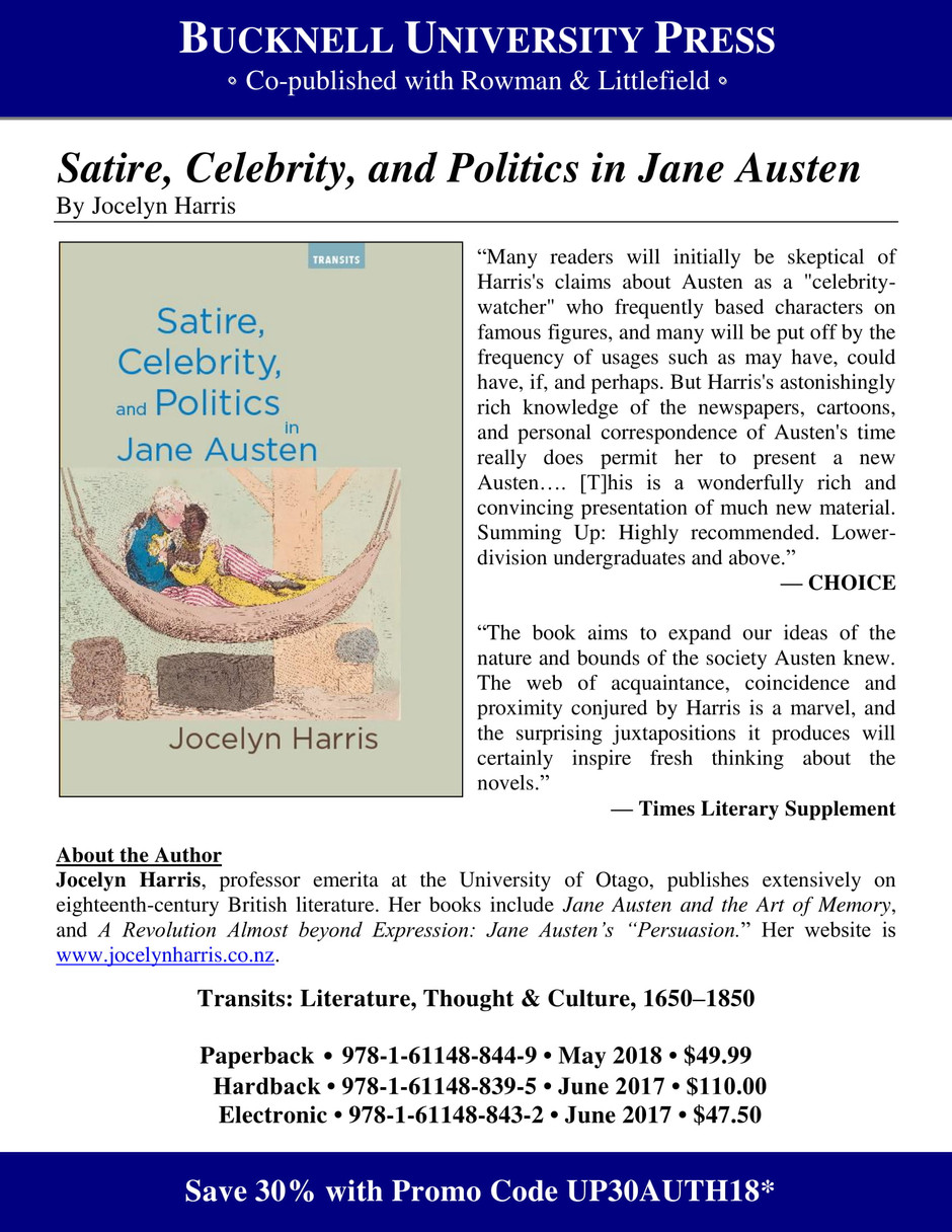 Satire, Celebrity, and Politics in Jane Austen