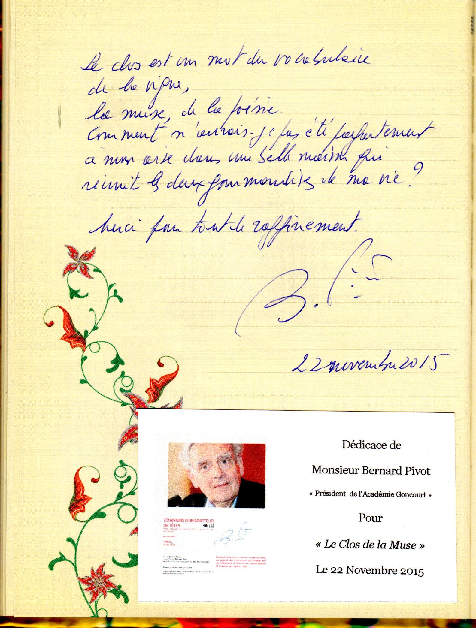Livre d'Or Bernard Pivot