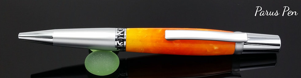 Handmade ballpoint pen with chrome fittings and Mars Magma acrylic