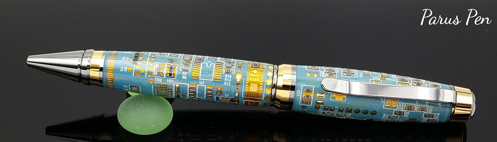 Handmade ballpoint pen with black/gold titanium finish and blue circuit boards