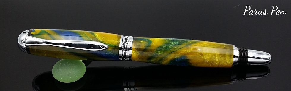 Handmade rollerball pen with chrome finish and Parrot Bay acrylic clip view