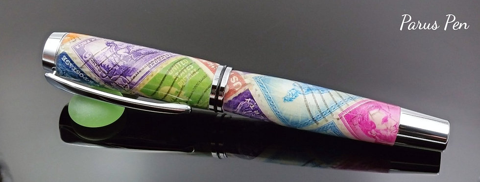 Handmade rollerball pen with vintage stamps and chrome finish