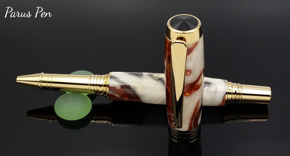 Handmade rollerball pen with gold titanium finish and Earth's Core acrylic cap view