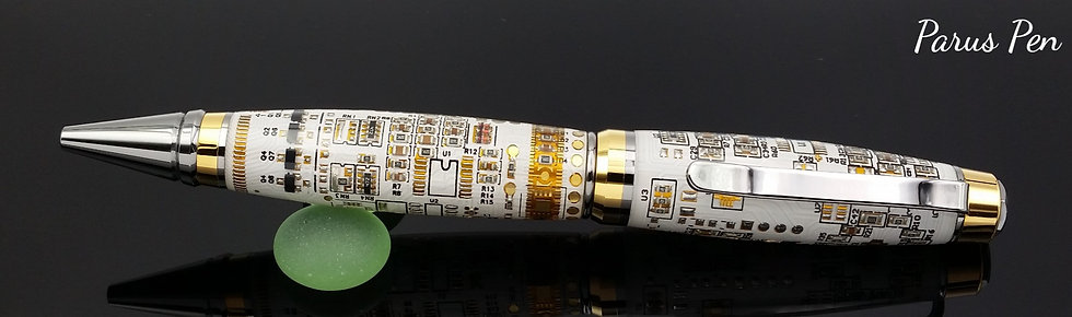 Handmade ballpoint pen with black/gold titanium finish and white circuit boards