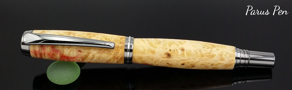 Handmade rollerball pen with black titanium finish and box elder burl clip view