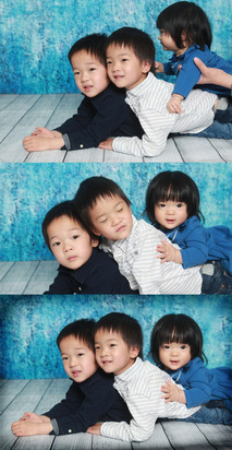 Sometimes timing isnt perfect with kids. These are a few images combined to get all open eyes and no parents hands.