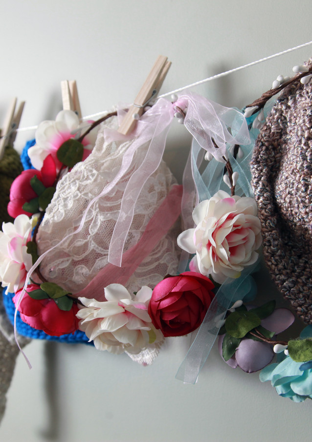 Hats, Flower wreaths, Angel wings and bonnets