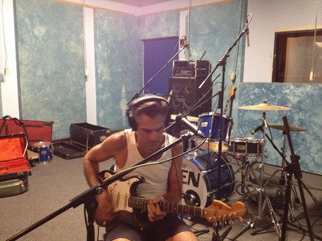 Tamlin playing guitar, Zen Studios Sydney 2019