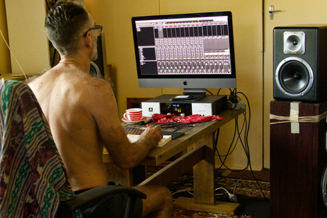 Tamlin mixing at Borders Edge Studios Christmas 2019