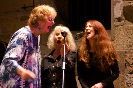 Margret Roadknight, Elizabeth Drake and Jan Cornall during the final song of Sedition concert, Get Up Stand Up