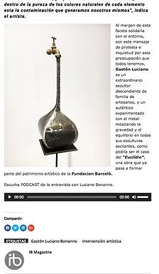 Diario IB Magazine, 19 de Junio de 2018. Gaston Luciano Bonanno - artista plastico.