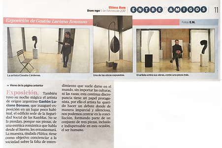 Diario Ultim Hora - Mallorca - España. Gaston Luciano Bonanno / artista plastico