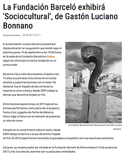 Diario d Mallorca -España. Gaston Luciano Bonanno - artista plastico.