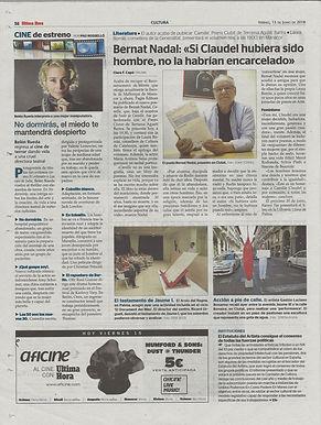 Diario Utima Hora, 15 de Junio de 2018. Gaston Luciano Bonanno - artista plastico