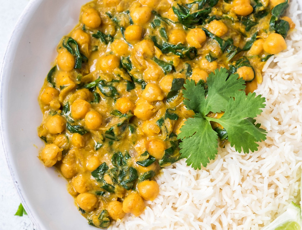 VEGAN COCONUT CURRY WITH CHICKPEAS AND SPINACH MEAL KIT BY FOODJOY