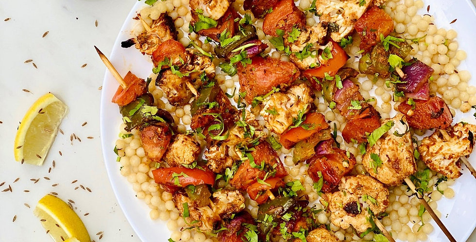 INDIAN BBQ VEGGIE KEBABS WITH CUMIN PEARL COUSCOUS BY CHEF PRIYANKA