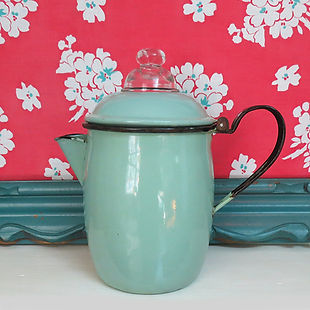 Vintage aqua enamelware percolator coffee pot