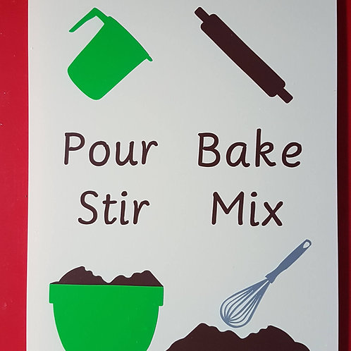 Pour, bake, stir, mix