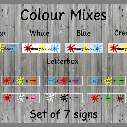 Colour Mixes - set of 7 signs