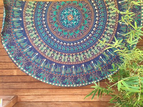 Bottle Green and Blue Round Mandala Tapestry