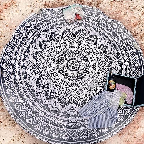 Black and White Round Mandala Tapestry