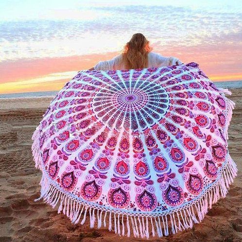 Pink Round Mandala Tapestry
