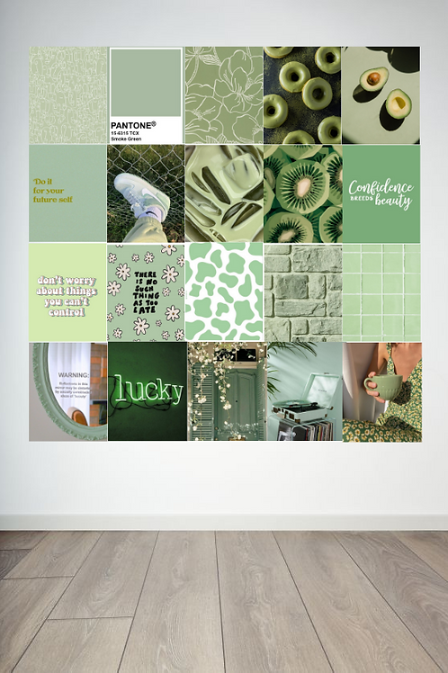 Matcha and Mint Wall Collage