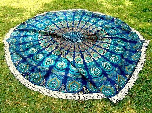 Peacock Round Mandala Tapestry