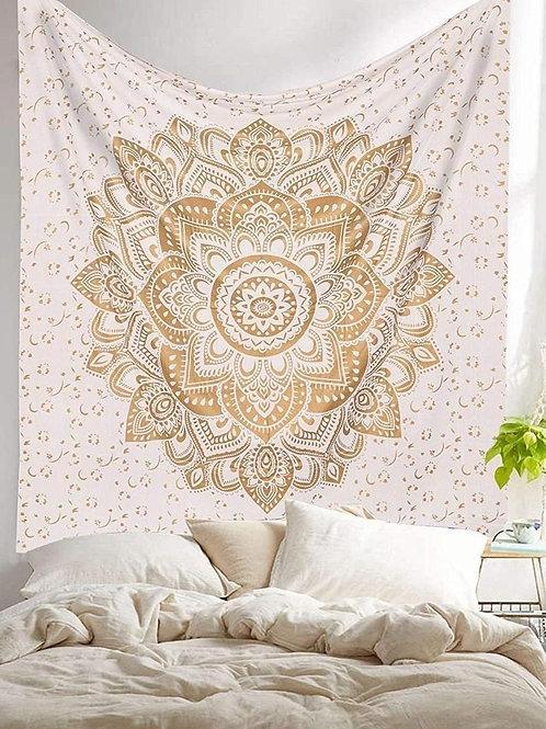 White Gold Mandala Tapestry