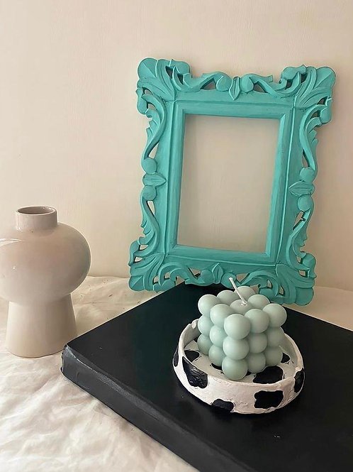 Pale Turquoise Bubble Candle
