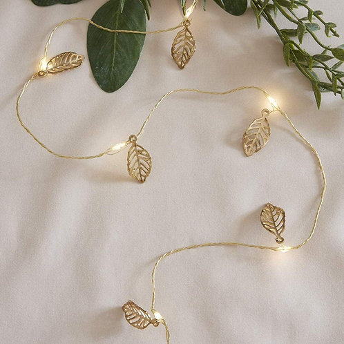 Golden Metal Leaf String Led Lights