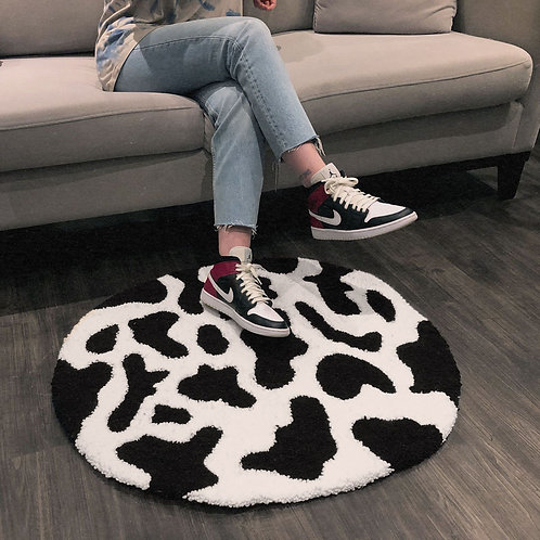 Cow Print Tufted Rug