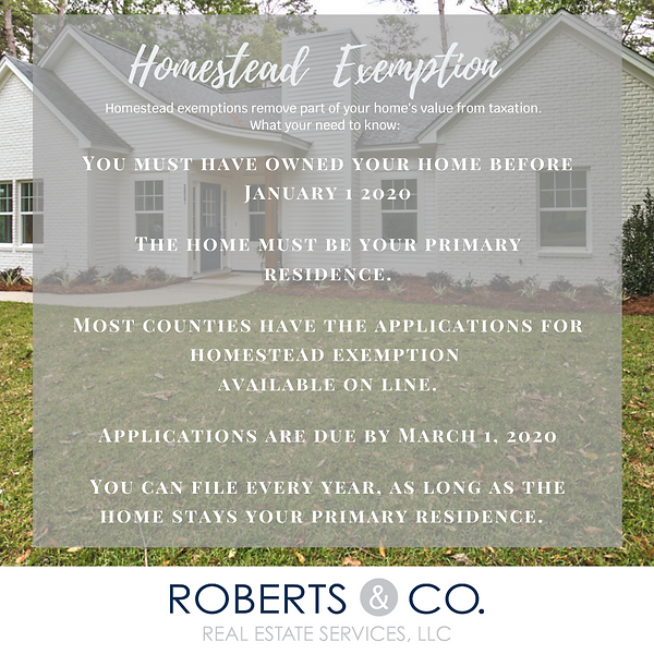 Homestead Exemption information, deadline
