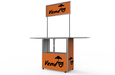 Vendo Popup kiosk. Portable and foldable Stalls. Fully branded popup stall.