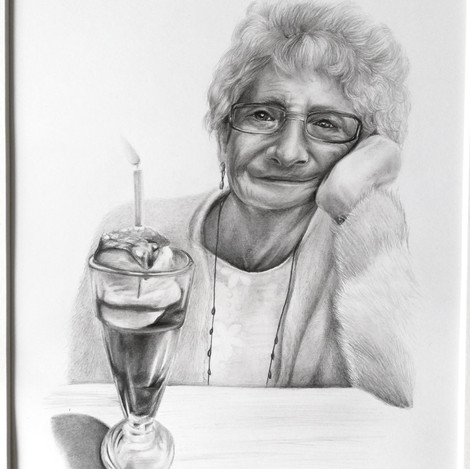 Portrait drawing in pencil