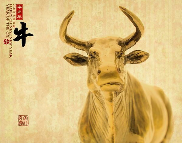 Tradition Chinese golden statue ox,2021