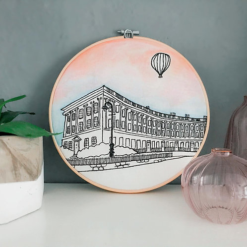 Royal Crescent Sunset Embroidered Artwork by Sew Bath