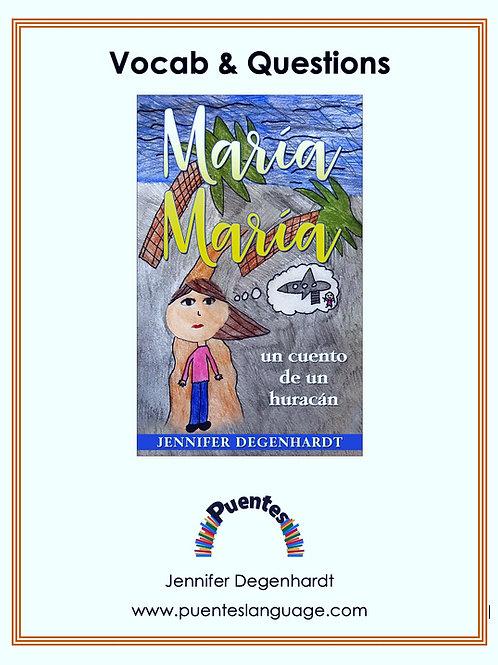 María María: un cuento de un huracán Vocabulary, Questions & Activities