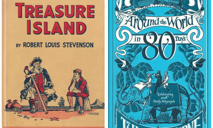 treasure island and around the world in 80 days book covers literature homeschool curriculum literature class online best