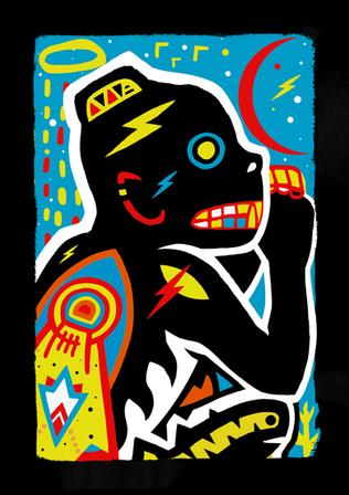 Sky Monkey  Acrylic, digital (2021)