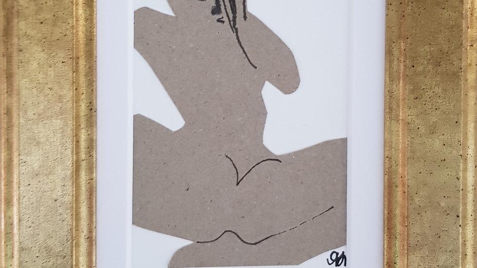 o.T. 2017 Pappe/ Tusche auf Papier / Mit Rahmen 20 x 15 cm